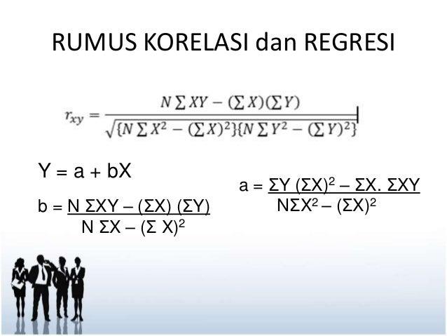 RUMUS KORELASI dan REGRESI  Y = a + bX  b = N ΣXY – (ΣX) (ΣY)  N ΣX – (Σ X)2  a = ΣY (ΣX)2 – ΣX. ΣXY  NΣX2 – (ΣX)2