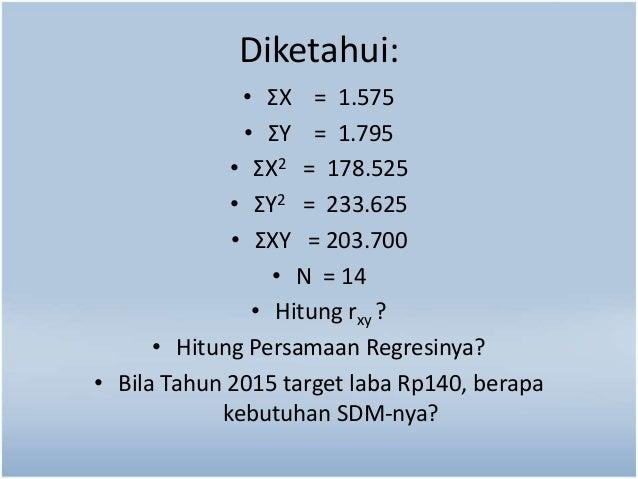 Diketahui:  • ΣX = 1.575  • ΣY = 1.795  • ΣX2 = 178.525  • ΣY2 = 233.625  • ΣXY = 203.700  • N = 14  • Hitung rxy ?  • Hit...