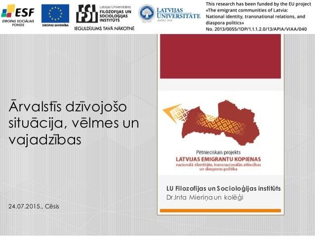 Latvijas emigrantu kopienas Nacionālā identitāte, transnacionālās attiecības un diasporas politika LU Filozofijas un Socio...