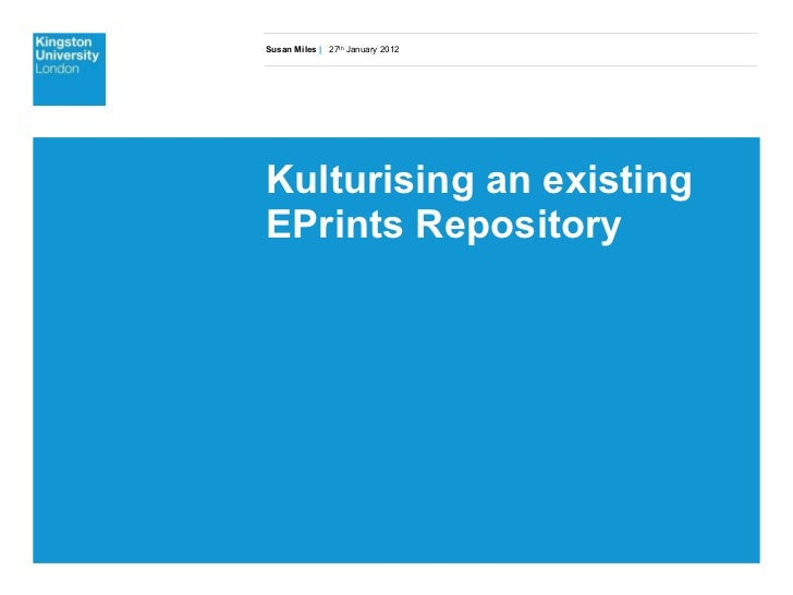Kulturising an existing EPrints Repository
