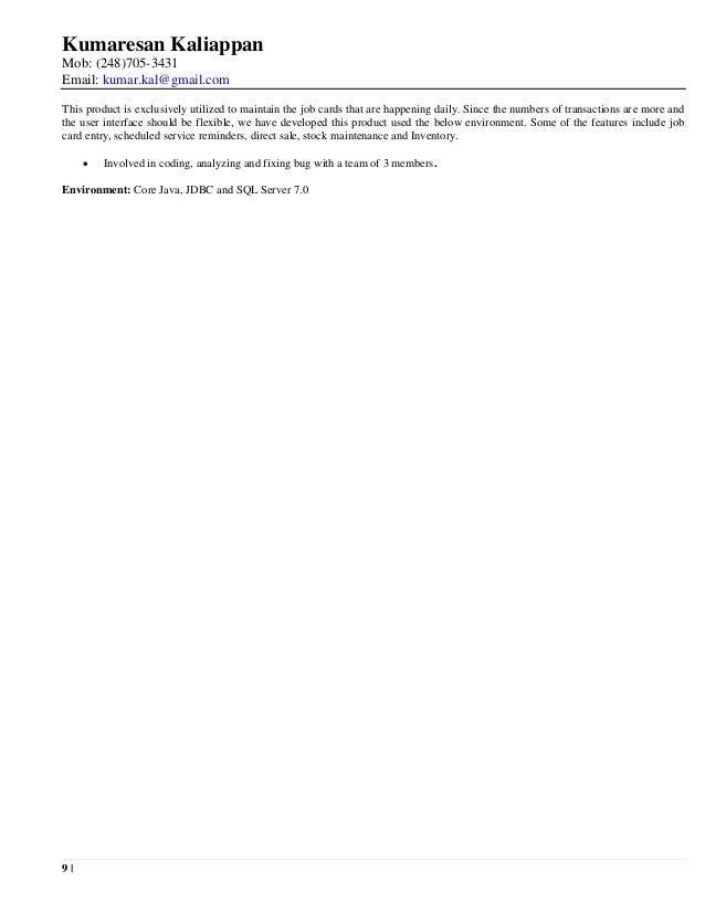 Kumaresan Kaliappan Resume