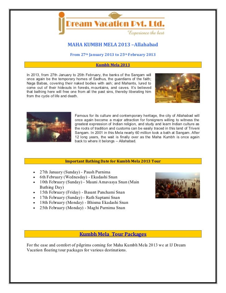 MAHA KUMBH MELA 2013 –Allahabad                           From 27th January 2013 to 25th February 2013                    ...