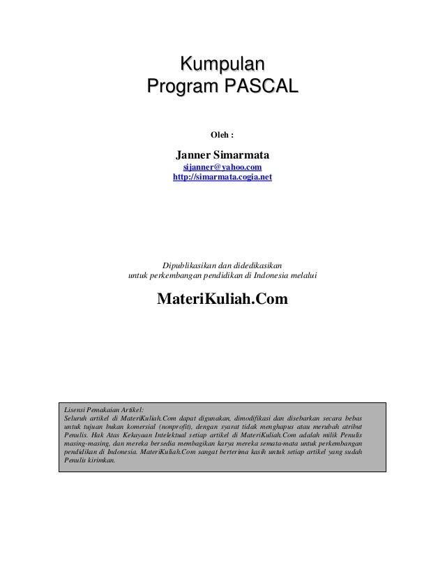 Kumpulan                          Program PASCAL                                               Oleh :                     ...
