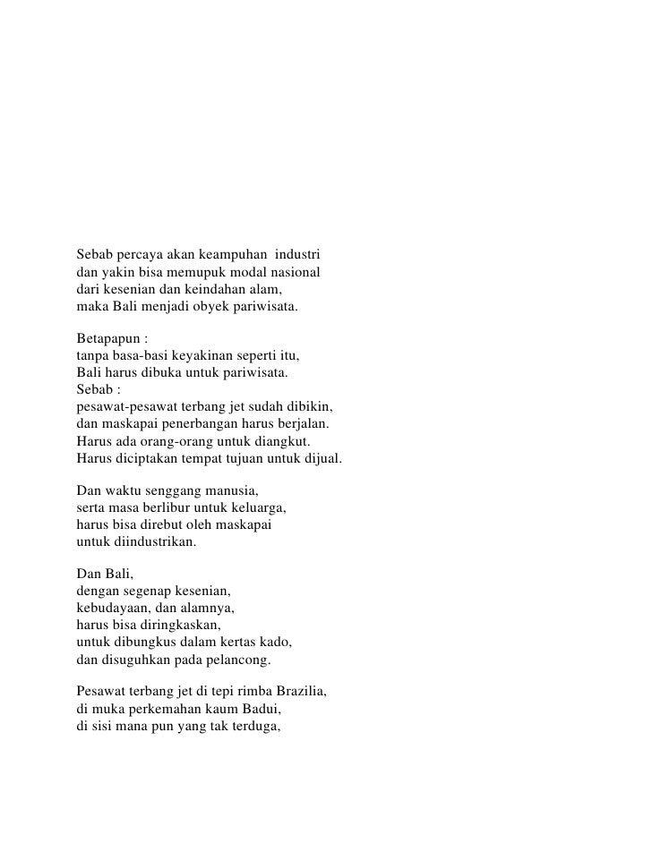 Potret Pembangunan Dalam Puisi Sajak Pulau Bali Oleh W S Rendra