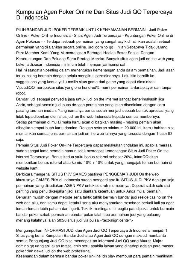 Kumpulan Agen Poker Online Dan Situs Judi Qq Terpercaya Di Indonesia