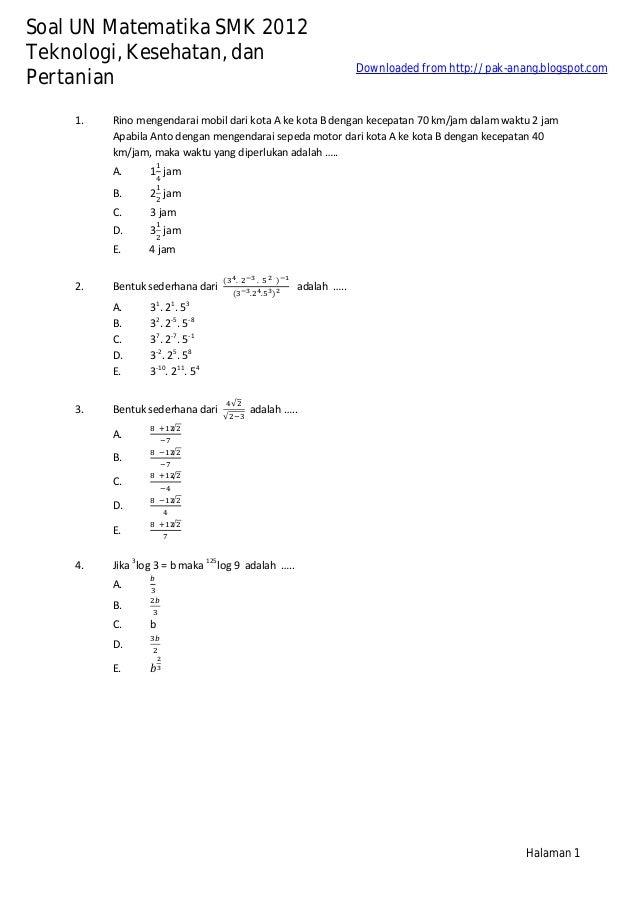 Kumpulan Arsip Soal 5 Tahun Un Matematika Smk 2008 2012