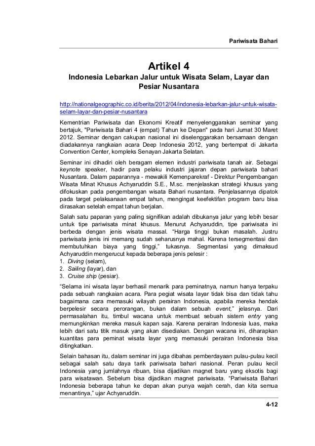 Pariwisata Bahari 4-12 Artikel 4 Indonesia Lebarkan Jalur untuk Wisata Selam, Layar dan Pesiar Nusantara http://nationalge...