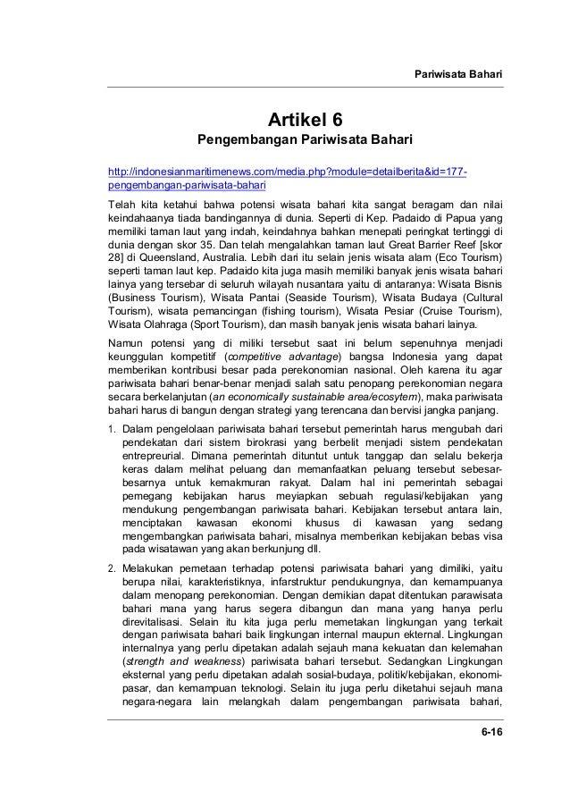 Pariwisata Bahari 6-16 Artikel 6 Pengembangan Pariwisata Bahari http://indonesianmaritimenews.com/media.php?module=detailb...