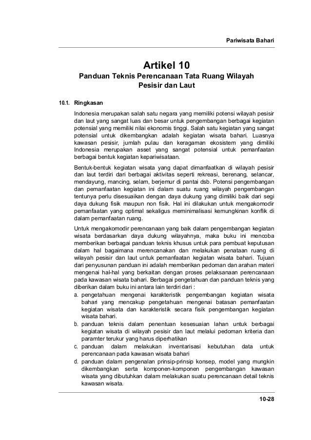 Pariwisata Bahari 10-28 Artikel 10 Panduan Teknis Perencanaan Tata Ruang Wilayah Pesisir dan Laut 10.1. Ringkasan Indonesi...