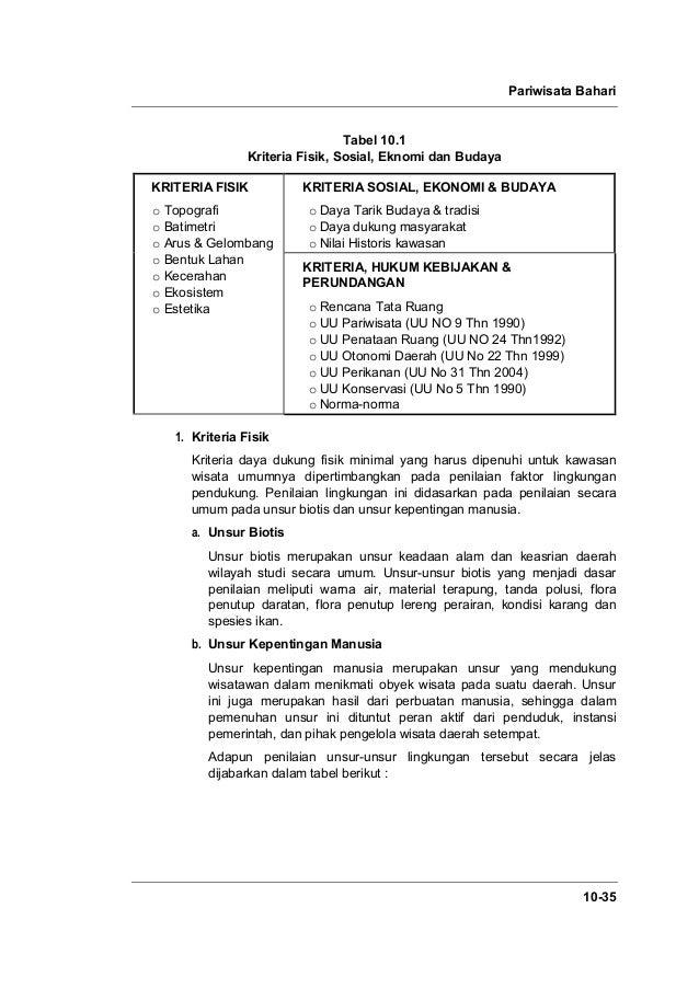 Pariwisata Bahari 10-35 Tabel 10.1 Kriteria Fisik, Sosial, Eknomi dan Budaya KRITERIA FISIK o Topografi o Batimetri o Arus...