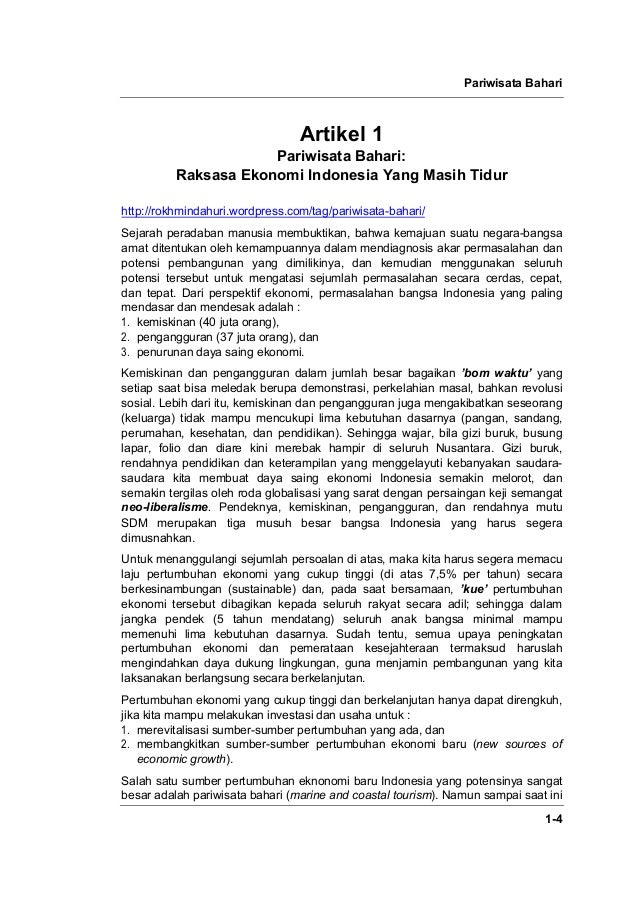 Pariwisata Bahari 1-4 Artikel 1 Pariwisata Bahari: Raksasa Ekonomi Indonesia Yang Masih Tidur http://rokhmindahuri.wordpre...