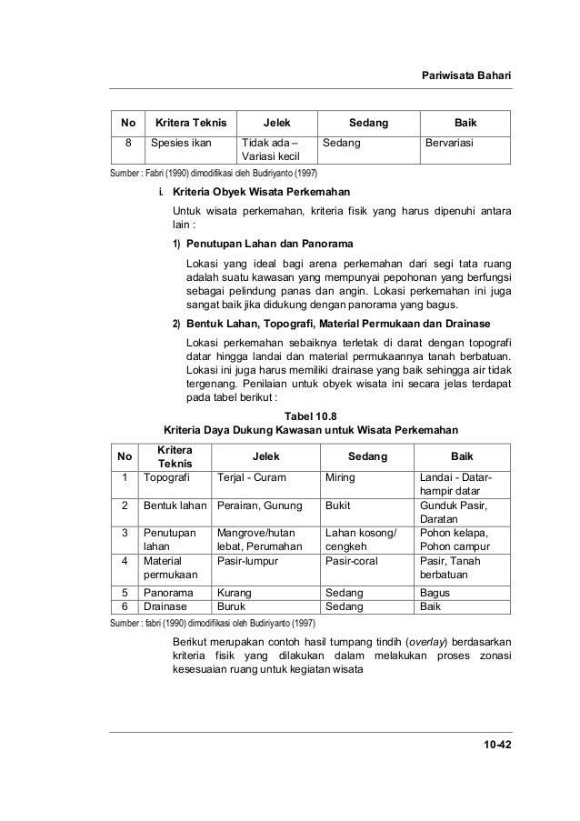 Pariwisata Bahari 10-42 No Kritera Teknis Jelek Sedang Baik 8 Spesies ikan Tidak ada – Variasi kecil Sedang Bervariasi Sum...