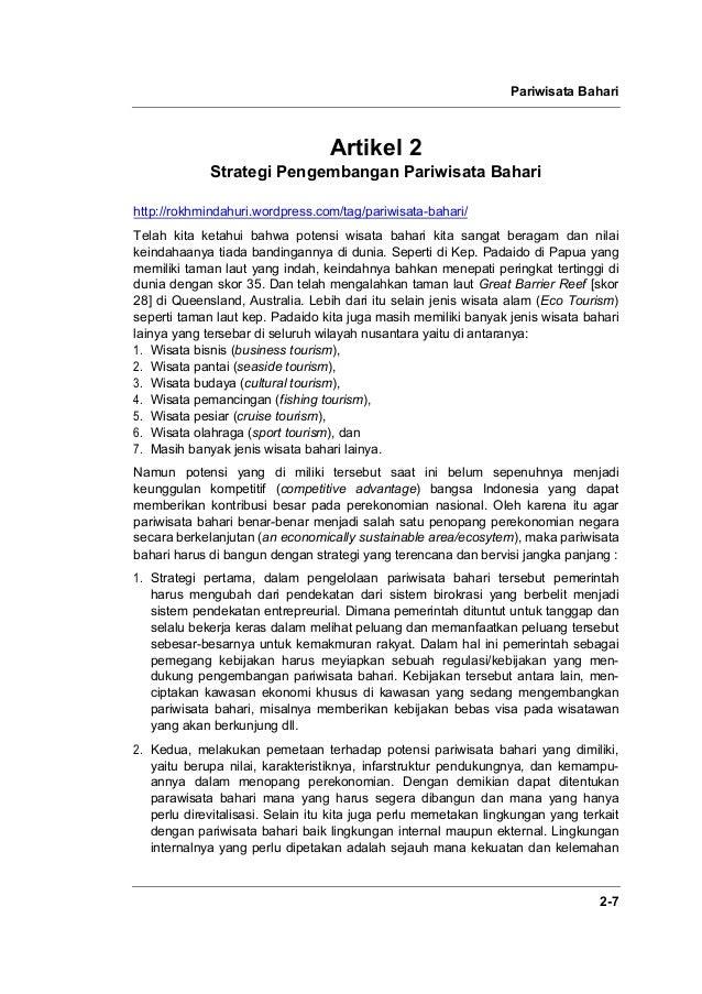 Pariwisata Bahari 2-7 Artikel 2 Strategi Pengembangan Pariwisata Bahari http://rokhmindahuri.wordpress.com/tag/pariwisata-...