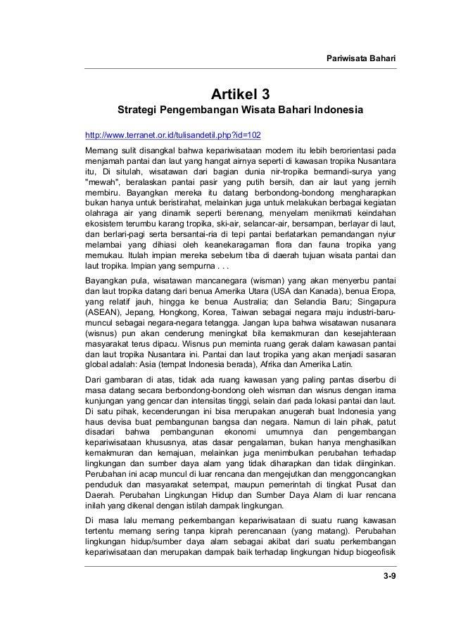 Pariwisata Bahari 3-9 Artikel 3 Strategi Pengembangan Wisata Bahari Indonesia http://www.terranet.or.id/tulisandetil.php?i...