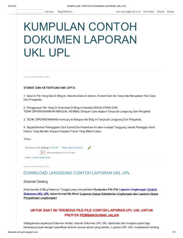 Download Langsung Kumpulan Contoh Laporan Ukl Upl