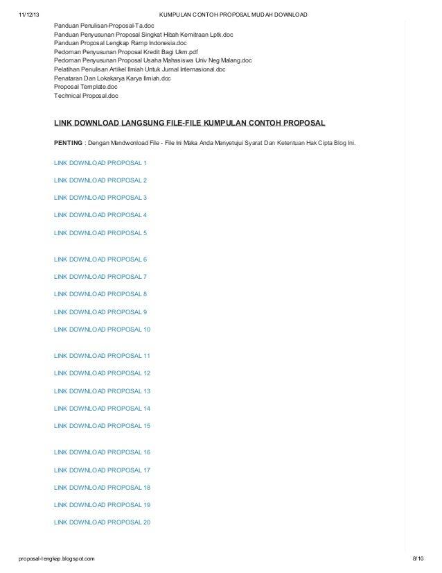 Kumpulan Contoh Proposal Mudah Download
