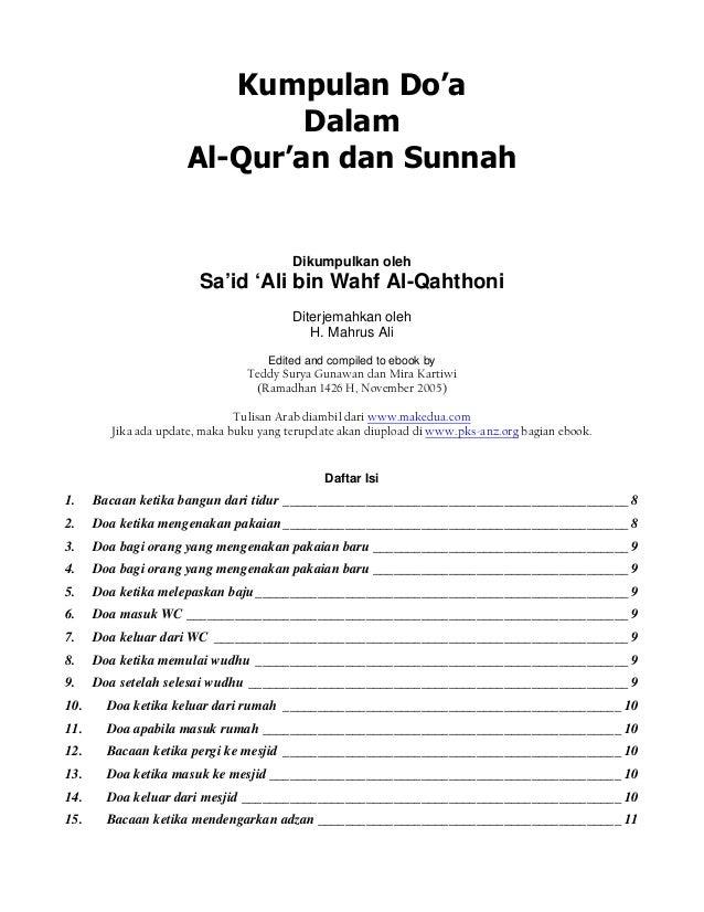 Kumpulan Do'a Dalam Al-Qur'an dan Sunnah Dikumpulkan oleh Sa'id 'Ali bin Wahf Al-Qahthoni Diterjemahkan oleh H. Mahrus Ali...