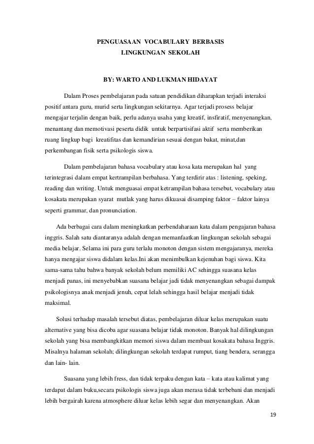 Contoh Karya Tulis Ilmiah Tentang Pembelajaran Bahasa Inggris