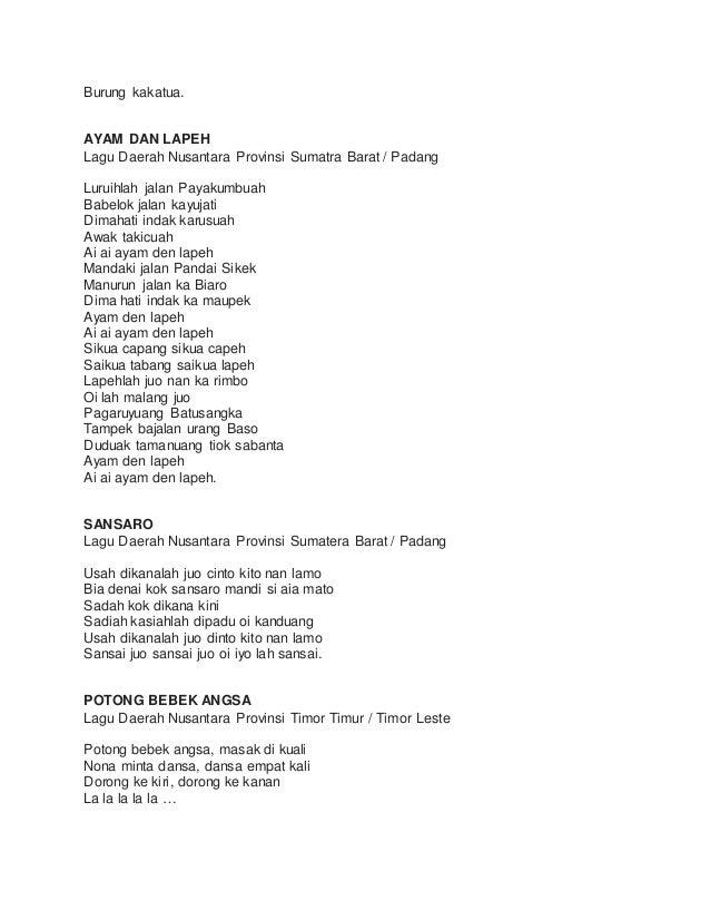 Kumpulan Lirik Lagu Daerah
