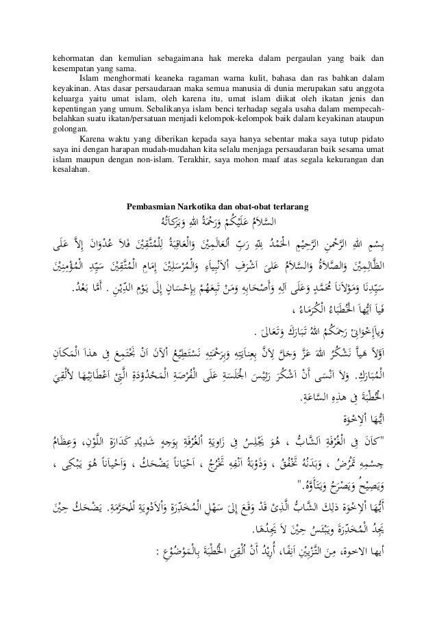 Contoh Pidato Bahasa Arab Latin Dan Artinya Contoh Soal