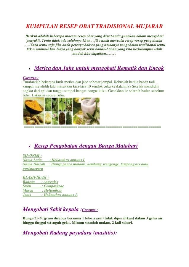 Kumpulan resep-resep ramuan pengobatan tradisional (Jamu)