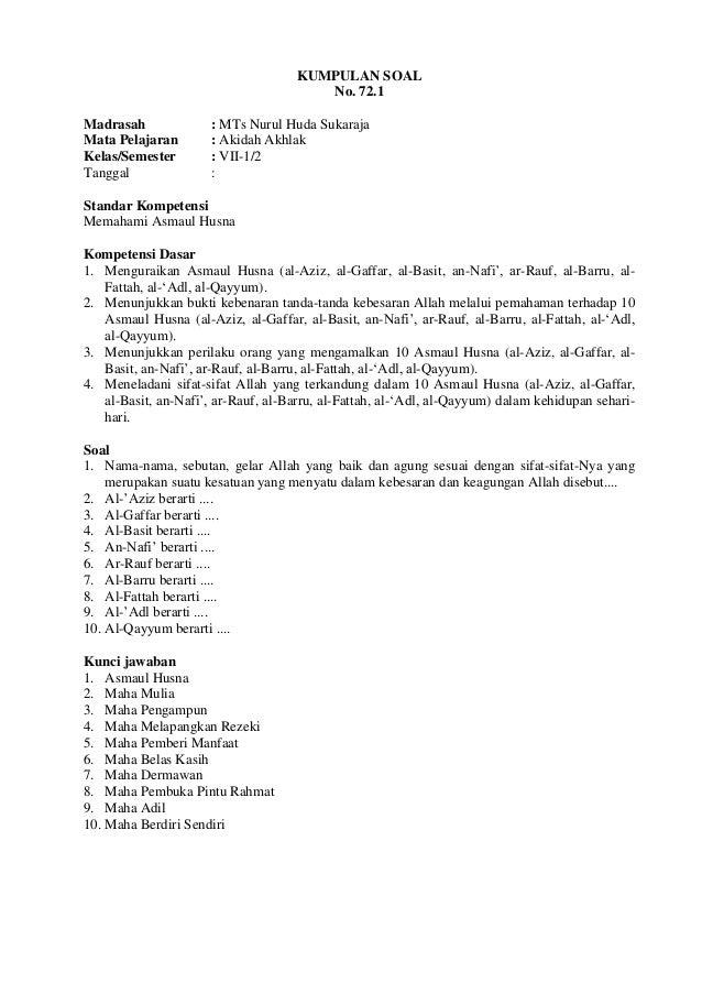 Download Kunci Jawaban dan Soal soal UAS Fiqih kelas 9 SMP