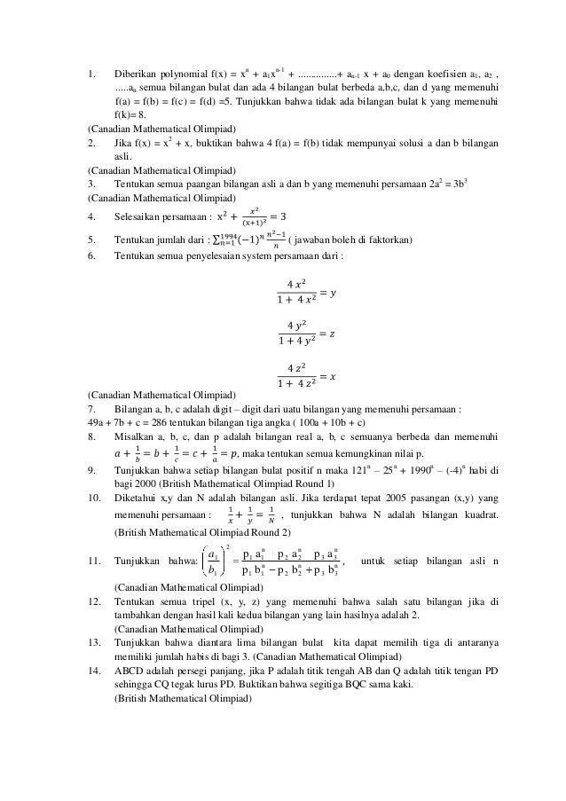 Kumpulan Soal Olimpiade Matematika Sma
