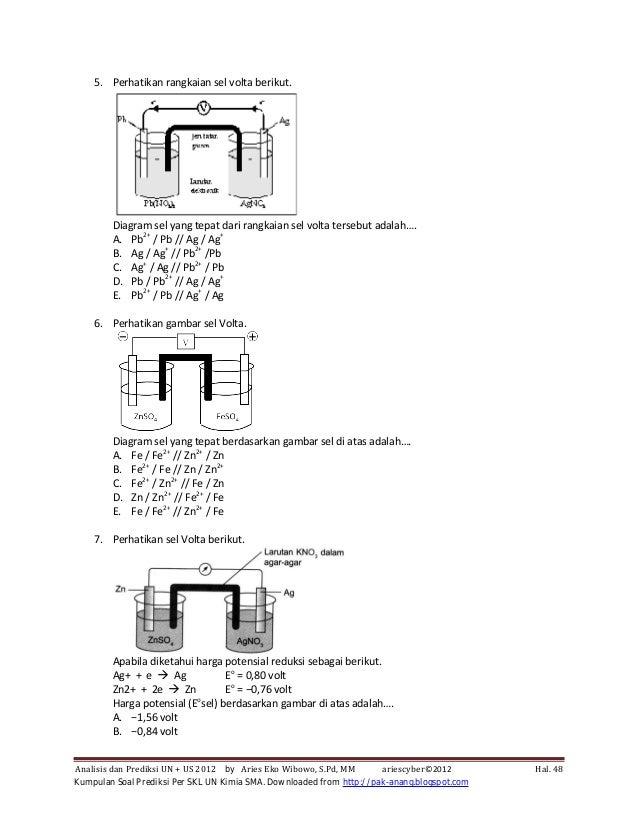 Kumpulan soal prediksi per skl un kimia sma 2012 52 5 perhatikan rangkaian sel volta berikut diagram sel yang tepat dari ccuart Choice Image