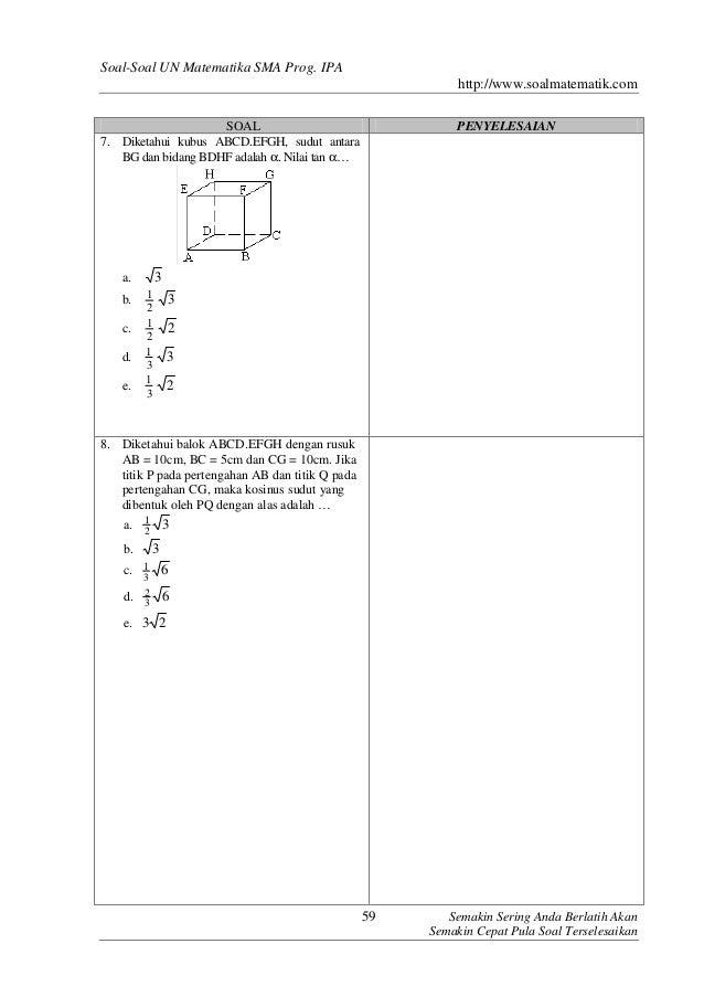Kumpulan Soal Un Matematika Sma Ipa
