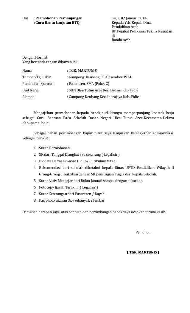 Surat Rasmi Permohonan Lanjutan Kontrak - Surat CC