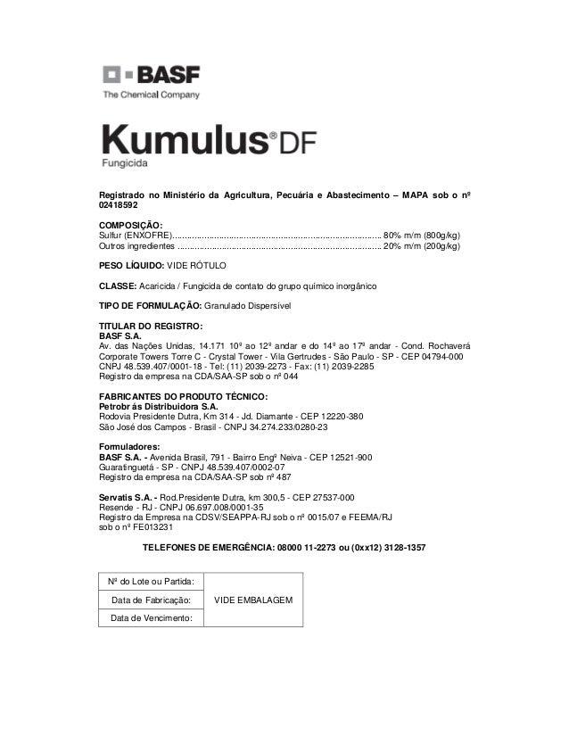 Registrado no Ministério da Agricultura, Pecuária e Abastecimento – MAPA sob o nº 02418592 COMPOSIÇÃO: Sulfur (ENXOFRE)......
