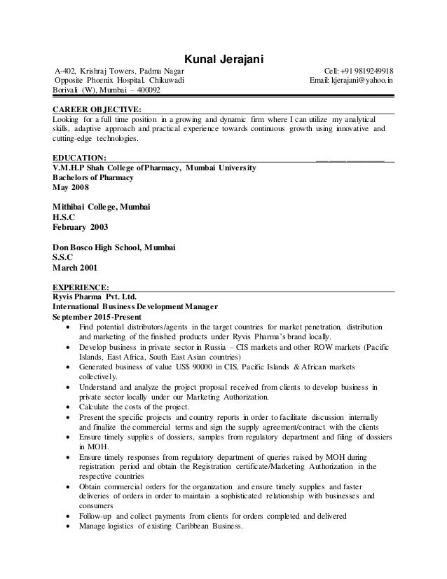 cv with 8 year of work experience in international
