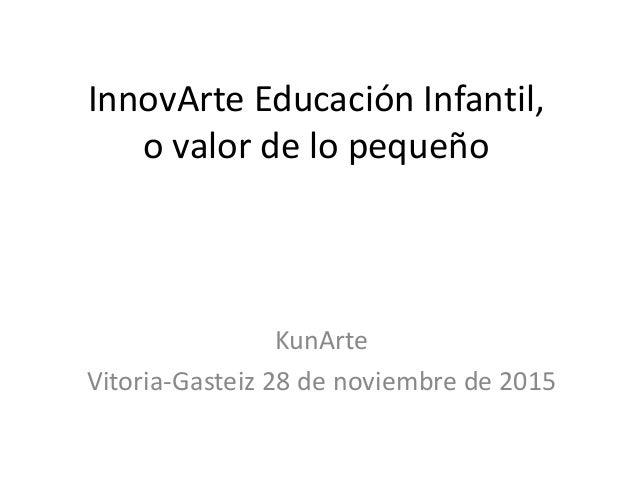 InnovArte Educación Infantil, o valor de lo pequeño KunArte Vitoria-Gasteiz 28 de noviembre de 2015