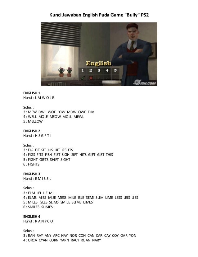 Kunci Jawaban English Pada Game Bully PS2