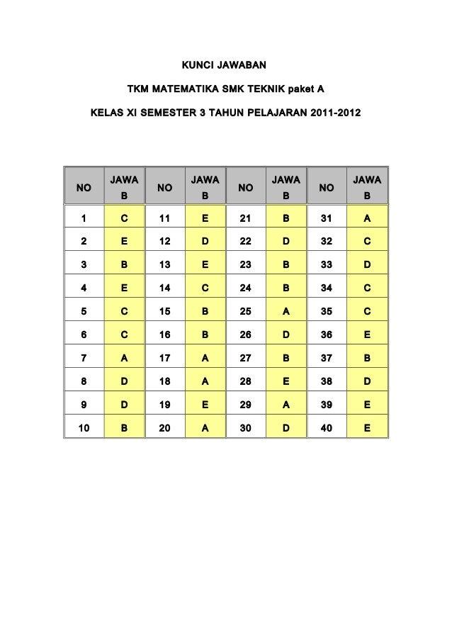 KUNCI JAWABAN              TKM MATEMATIKA SMK TEKNIK paket A     KELAS XI SEMESTER 3 TAHUN PELAJARAN 2011-2012        JAWA...