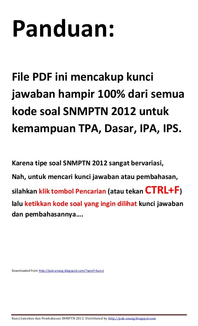 Kunci Jawaban Soal Snmptn 2012