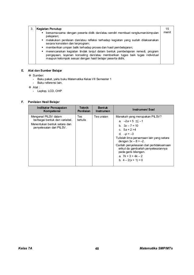 Kunci Dan Perangkat Matematika Smp Kelas 7