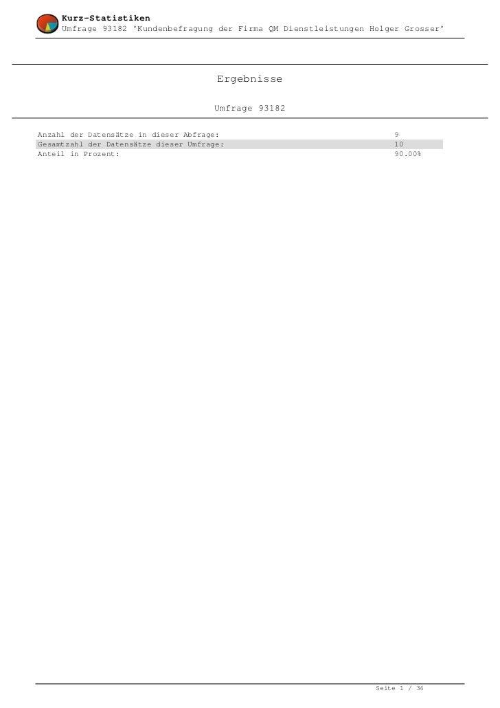 Kurz-Statistiken     Umfrage 93182 Kundenbefragung der Firma QM Dienstleistungen Holger Grosser                           ...