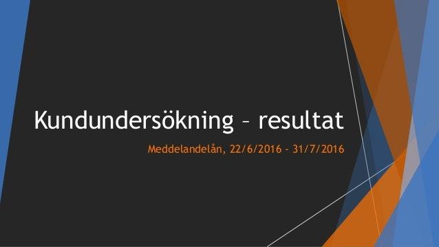 Kundundersökning – resultat Meddelandelån, 22/6/2016 - 31/7/2016