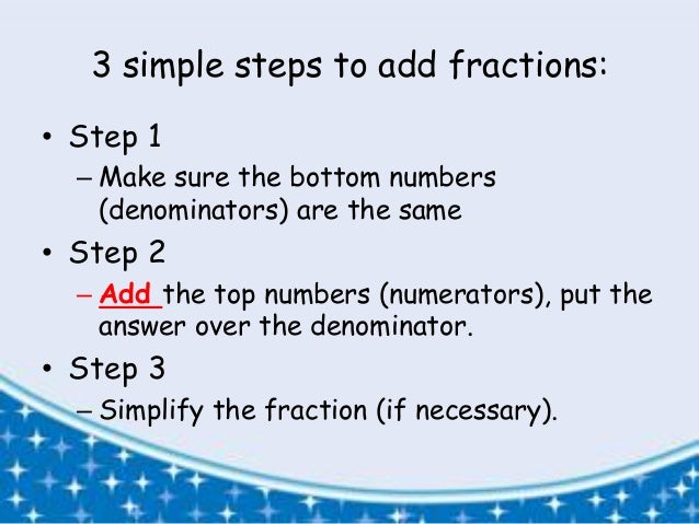 how to add three fractions