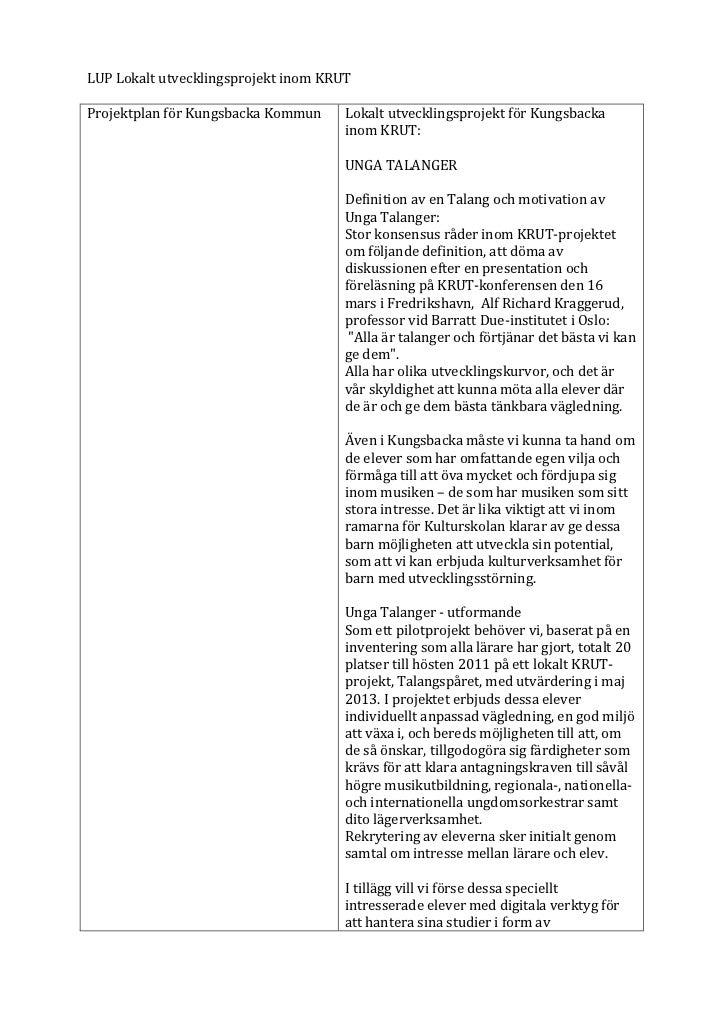 LUP Lokalt utvecklingsprojekt inom KRUT  Projektplan för Kungsbacka Kommun  Lokalt utvecklingsproje...