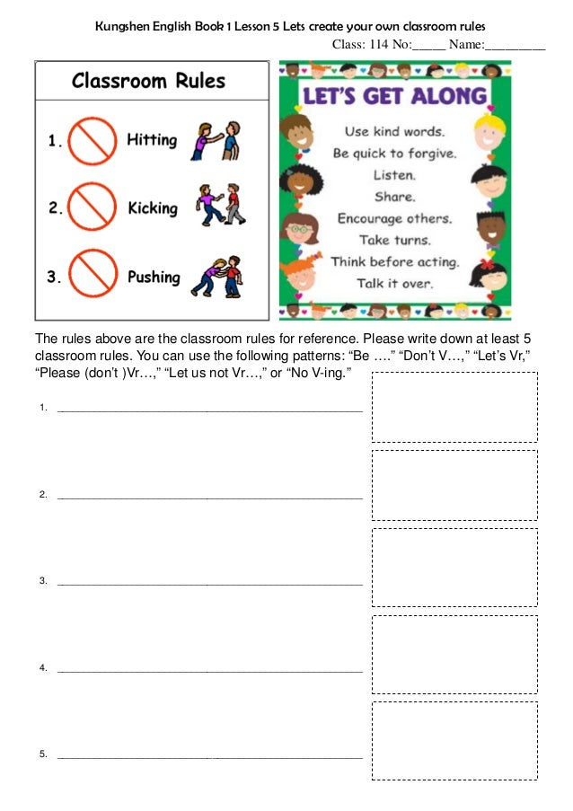 English In Italian: Kungshen English Book 1 Lesson 5 Verbs 3 Classroom Rules