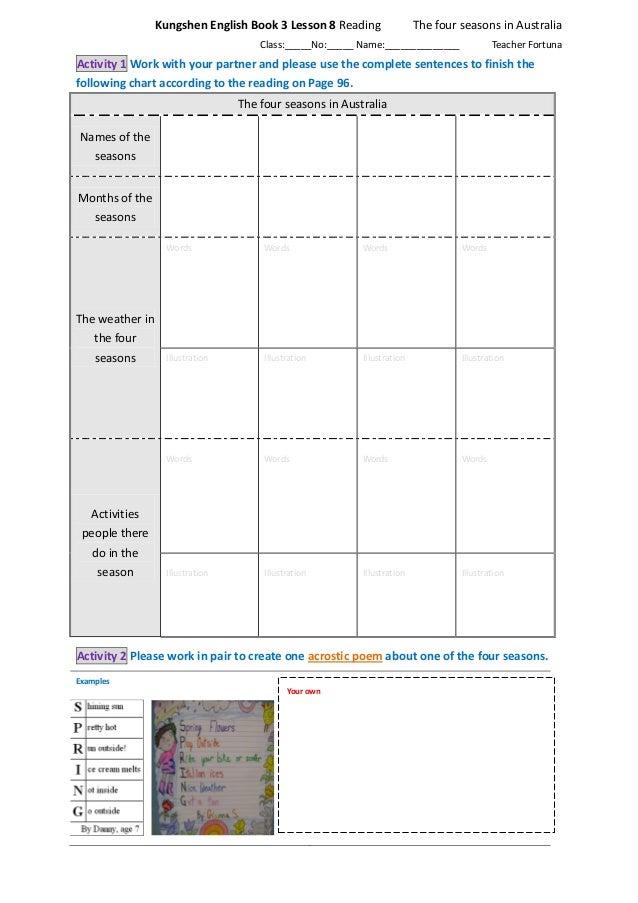 English In Italian: Kungshen English Book 3 Lesson 8 Four Seasons In Australia
