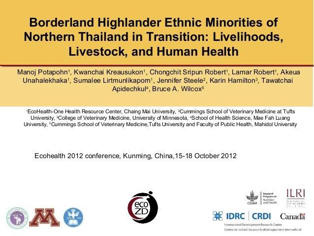 Borderland Highlander Ethnic Minorities of Northern Thailand in Transition: Livelihoods,        Livestock, and Human Healt...