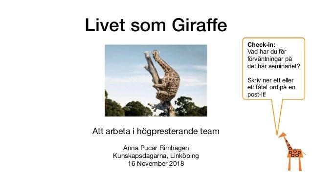 Livet som Giraffe Att arbeta i högpresterande team  Anna Pucar Rimhagen  Kunskapsdagarna, Linköping  16 November 2018 Chec...