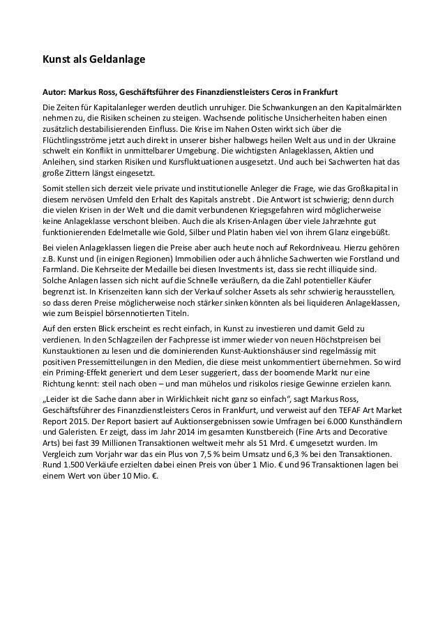 Kunst als Geldanlage Autor: Markus Ross, Geschäftsführer des Finanzdienstleisters Ceros in Frankfurt Die Zeiten für Kapita...