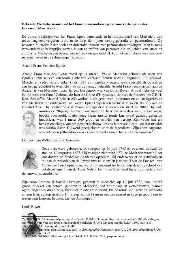 Bekende Mechelse namen uit het kunstenaarsmilieu op de conscriptielijsten der Fransen. (Marc Alcide) De conscriptielijsten...