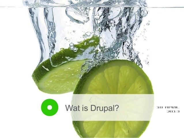 Wat is Drupal?   10 april                    2013