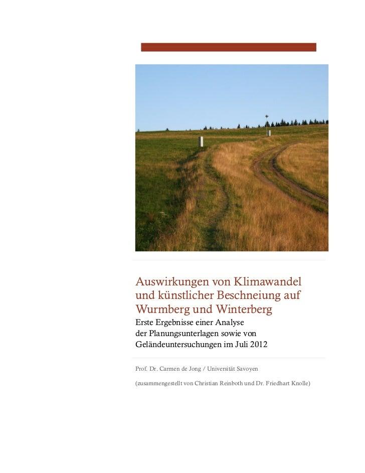 Auswirkungen von Klimawandelund künstlicher Beschneiung aufWurmberg und WinterbergErste Ergebnisse einer Analyseder Planun...
