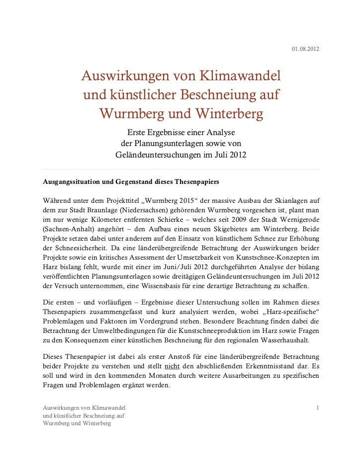 Auswirkungen von Klimawandel und künstlicher Beschneiung auf Wurmberg und Winterberg Slide 2